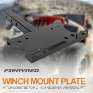 Steel Winch Mount Plate Black Trailer Hitch Heavy Duty For Offroad 4wd Boat