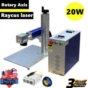 Us 20w Split Fiber Laser Marking Engraving Machine Engraver rotary Axis Include