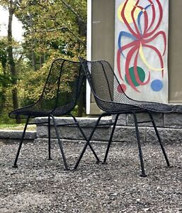 Pair 2 1950s Russell Woodard Sculptura Mcm Patio Chairs Eames Knoll Nelson Era