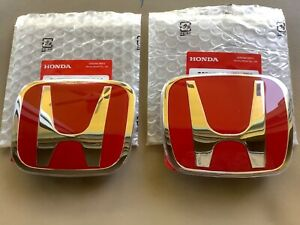 2pcs Set Honda Civic Coupe 2dr 06 11 Red Jdm H Front Rear Type R Emblem Grille