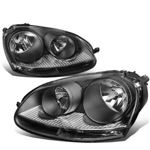Fit 2005 2010 Vw Jetta Mk5 Pair Black Housing Clear Corner Headlight lamp Set
