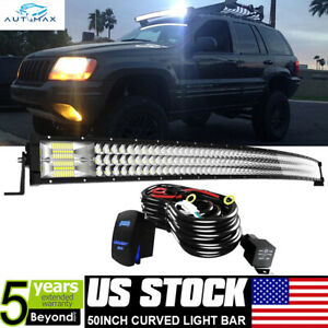 50 648w Curved Tri Row Led Light Bar W Wiring Kit Offroad Driving 4x4wd 52