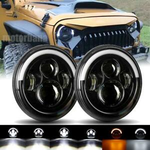 Newest 7 Inch Round Led Headlights Halo Drl Light For Jeep Wrangler Jk 1997 2018