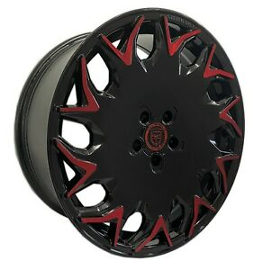 4 Gv06 20 Inch Staggered Black Red Rims Fits Ford Shelby Gt 500 2007 2020