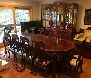 A Set Of Chinese Rosewood Cabinet And Rectangle Dining Table With 10 Chairs