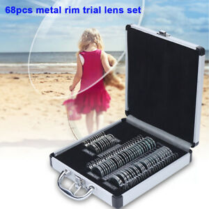 Trial Lens Set 68 Pcs Metal Rim Optometry Optical Instrument W Aluminium Box