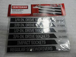 Craftsman Magnetic Toolbox Labels Screwdrivers Wrenches Made In Usa P N 65518