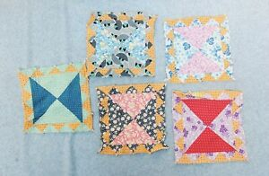 Hand Sewn Stitched Quilt Block Lot 5 Vintage 9 X 9 Cotton Feed Sack Bow Tie