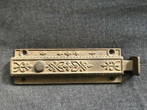 Vintage Cast Iron Victorian Eastlake Door Top Latch Dead Bolt Lock W Spring