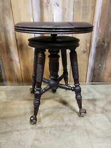 H Holtzman And Sons Swivel Wood Piano Stool W Brass Claw Glass Ball Feet 1900