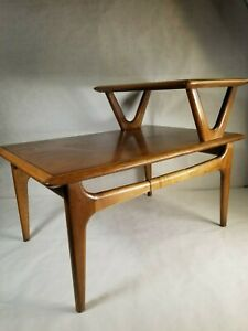 Mid Century Modern Lane Alta Vista Constellation Step End Table Rosewood Walnut
