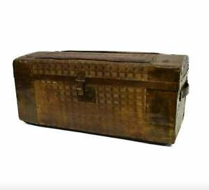 19 20th C Small American Travel Trunk Train Luggage Embossed Tin Tabletop Chest