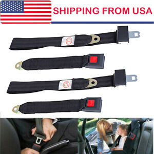 2 Car Seat Belt Lap 2 Point Safety Travel Adjustable Retractable Auto Universal