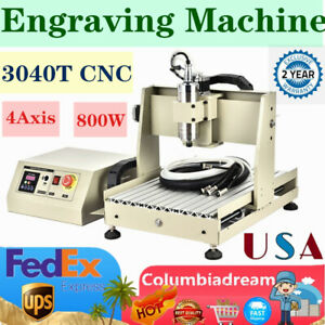 4axis 800w 3040t Cnc Router Engraver Engraving Machine Pcb Carver 3d Cutter 800w