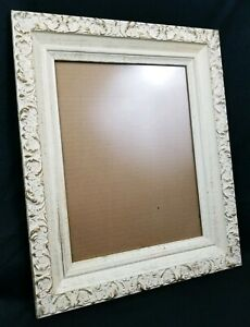 Vintage Carved Wood Ivory Gold Washed Frame Picture Painting Wedding 18 X 16