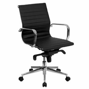 Mid back Black Ribbed Leather Swivel Conference Chair With Knee tilt Control