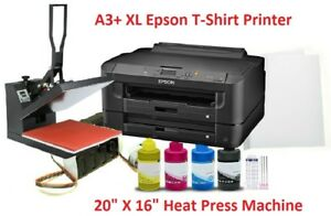 Epson Sublimation A3 Printer Heatpress Bundle Kit ciss 16x20 Heat Press papers