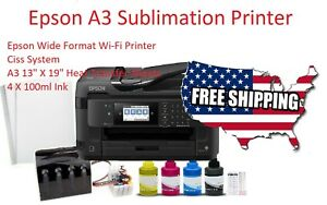 Sublimation Printer Bundle epson Printer ciss Kit Ink 13 x19 110 Sheets