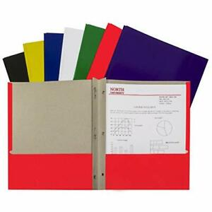 Recycled Two pocket Paper Portfolios With Prongs Assorted set Of 100 Folders