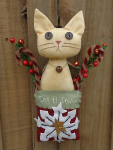 Handmade Kitty Cat Doll Tan Let It Snow Pocket Primitive Country Holiday