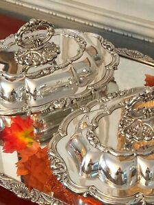Pair Of Antique English Silver Plated Covered Serving Dishes Barker Ellis