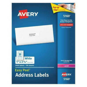 Avery 5160 Easy Peel Address Labels Permanent Adhesive 1 X 2 5 8 100 Sheets