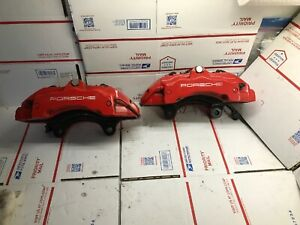 2004 2010 Porsche Cayenne Turbo Front Brake Caliper Pair Red Brembo Oem Used