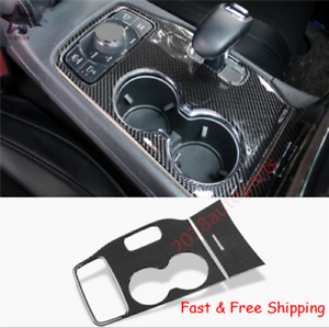 Real Carbon Fiber Water Cup Holder Cover Trim For Jeep Grand Cherokee 2014 2015