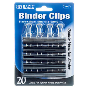 Binder Clips 20pc Small Blk Clr 260 Bazic Wholesale 24 Pack