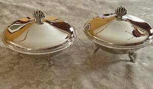 Silver Plate Serving Dishes 2 W Cover And Pyrex Insert