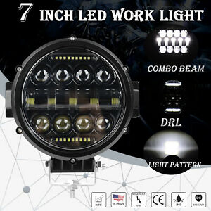 1x 7inch Led Work Light Round Led Driving Bar Fog 4wd Suv Offroad Atv Boat