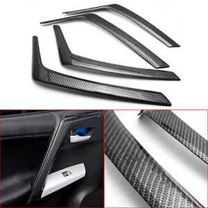 Carbon Fiber Style Inner Car Door Armrest Cover Trims For Toyota Rav4 2016 2018