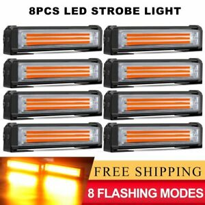 8x 6 Amber 40w Led Emergency Warning Strobe Lights Bars Deck Dash Grill Truck