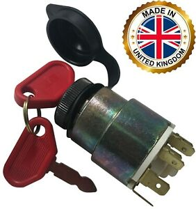 Universal Ignition Starter Barrel Switch 12v Waterproof Cover 4 Pos 2 Keys Uk