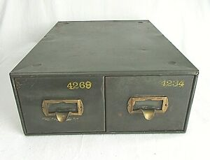 Vintage 2 Drawer Metal Card File Drawers Terrell s Us Government Label Green Usa