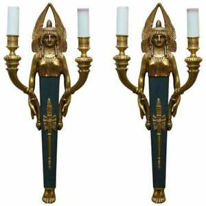 Rare Pair Of Empire Style Figural Two Branch Wall Appliques Sconces Gilt Bronze