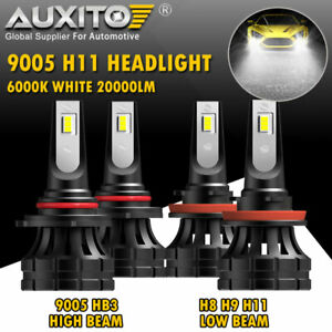 2x Auxito Combo H11 9005 Hb3 Led Headlight Bulb Kit High Low Beam 6000k 40000lm