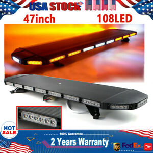 47 108led Amber White Strobe Light Bar Emergency Beacon Warn Tow Truck Response