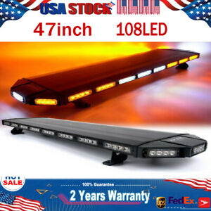 108led 47 Amber white Strobe Light Bar Emergency Beacon Warn Tow Truck Response