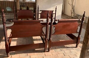 Pair Of Antique Carved Mahogany Twin Beds 19th Century