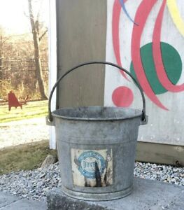 Vintage 1930s Hot Dipped Galvanized Steel 3 5g Large Bucket Pail Industrial Sap