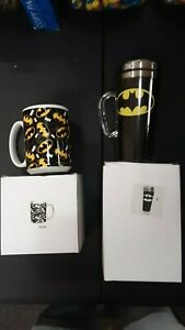 BATMAN COFFEE MUG AND PLASTIC TUMBLER WITH DRINKING LID.