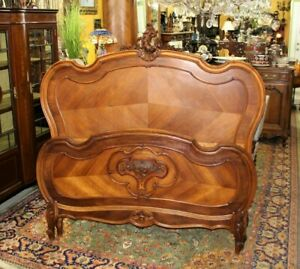 French Antique Carved Walnut Louis Xv Queen Size Bed Bedroom Furniture