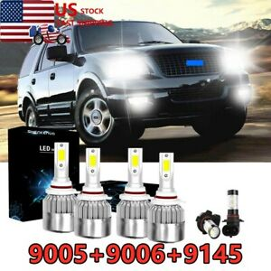 6pc For Ford Expedition Explorer 2002 2006 Headlight Fog Bulbs Led High Low
