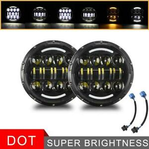 2pcs 7 Inch 600w Led Headlights Halo Projector For Jeep Wrangler Cj Jk Lj 97 18