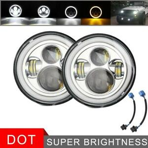 Pair 600w 7 Inch Round Led Headlight Halo Hi lo Beam Drl For Jeep Wrangler