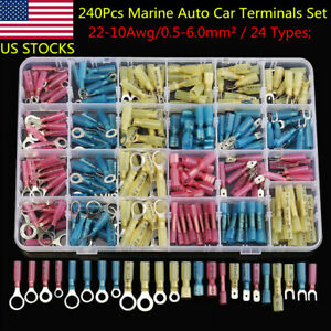 240pc Heat Shrink Electrical Wire Connectors 10 22 Ring Spade Crimp Terminals Us