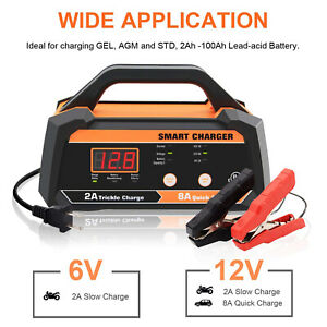 6 12v 8a Smart Battery Charger Maintainer For Car Motorcycle With Cable Clamps