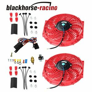 New Red 2x 12 electric Cooling Fan Push in Radiator Fin Probe Ther