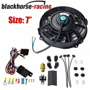 7 Electric Radiator Cooling Fan Thermostat Relay Install Kit Universal Black